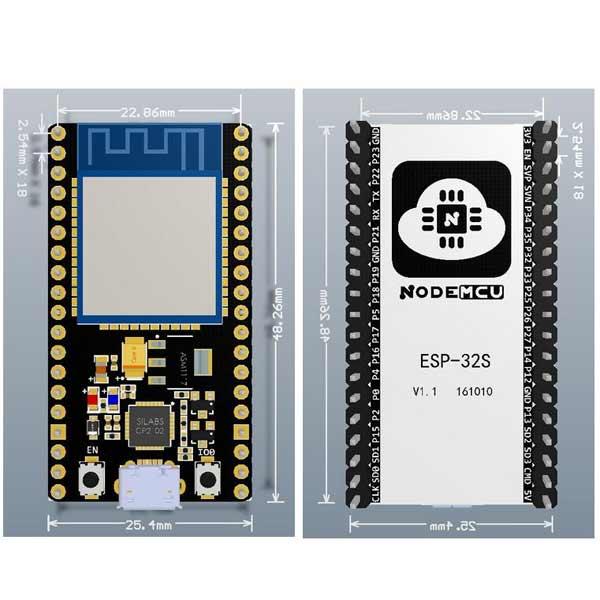برد توسعه اینترنت اشیا NodeMcu بر پایه ESP32S تراشه CP2102 و Lua WIFI Bluetooth